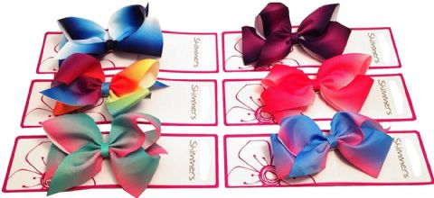 6pcs Rainbow colour blend Hair Bows Boutique Girls Alligator Clip Grosgrain Ribbon Headband - 12cm